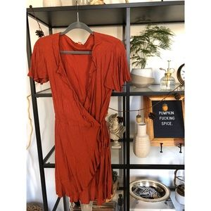 Burnt orange wrap dress!